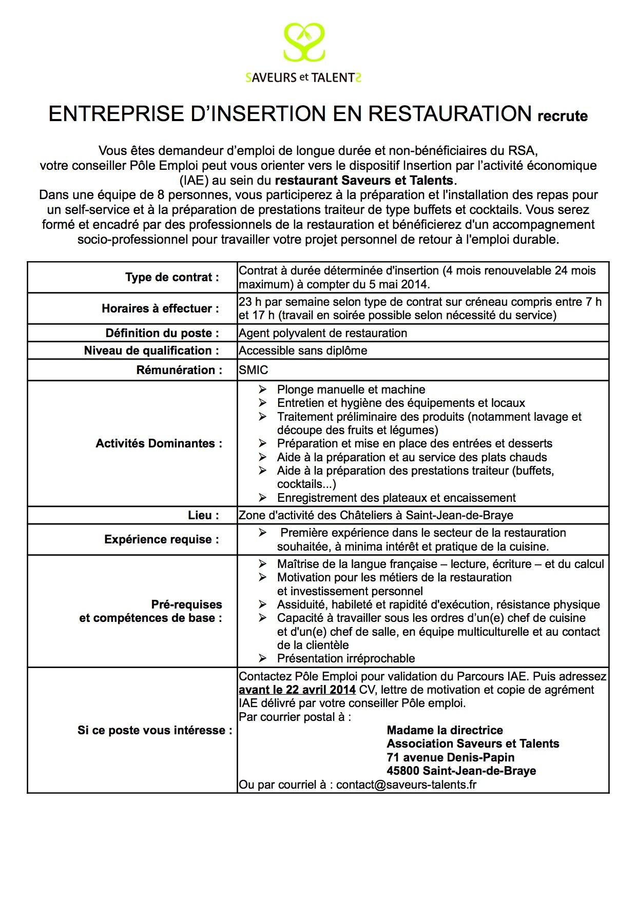 Recrutement non class association saveurs et talents for Offre emploi agent de restauration